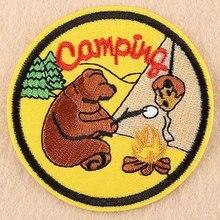 Спортивный Медвежонок лагерь жизнь оставьте дорогу в море Открытый Утюг на вышитой одежде нашивки для одежды