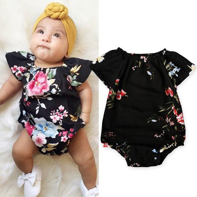 d26257578 2017 طفل الفتيات ملابس اطفال بنات داخلية الوليد بيبي الملابس خياطة الأزهار  بذلة الزي الملابس