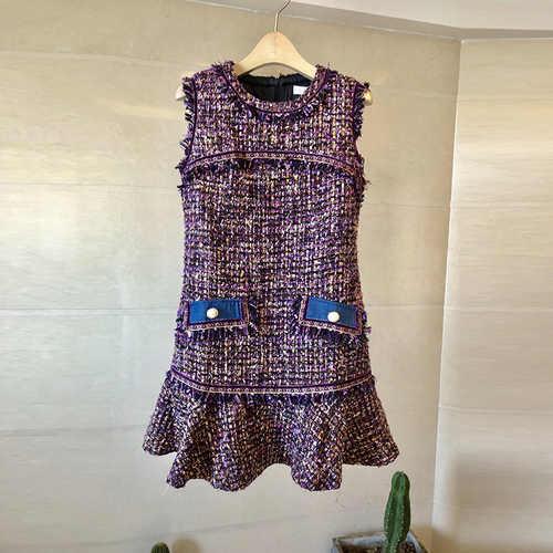 YiLin Kay Высокое качество модные дизайнерские взлетно-посадочной 2019 осень Для женщин с круглым вырезом без рукавов Тонкий платье из твида