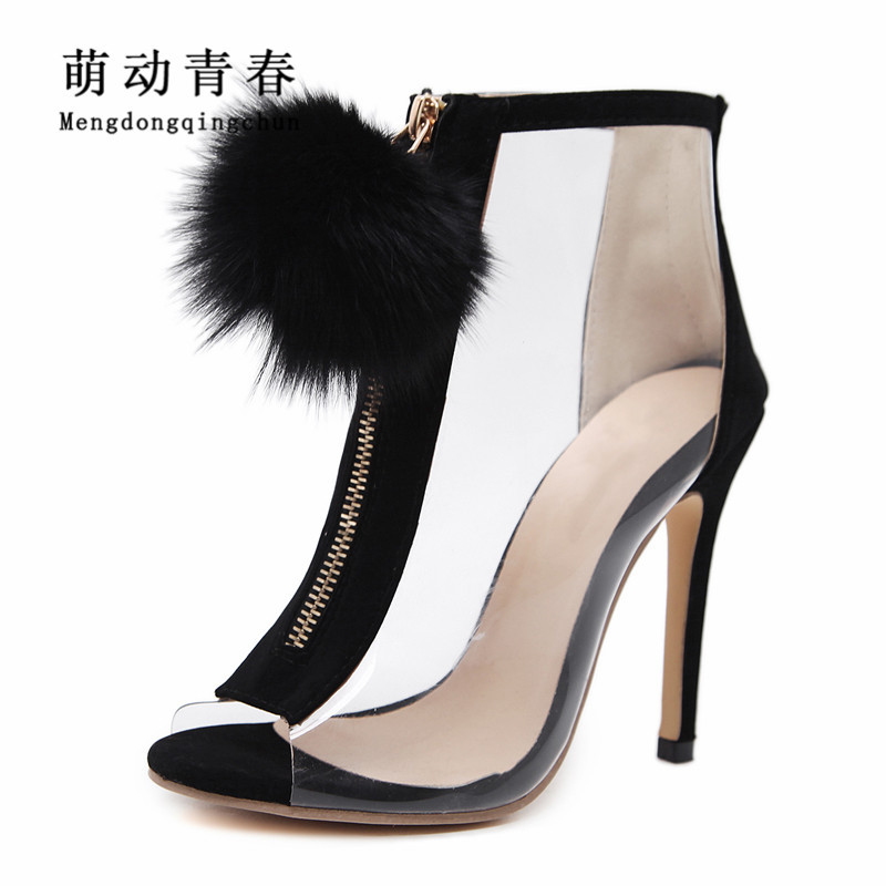 2018 New Spring Womem Boots Fashion Women Peep Toe Thin Heel Boots Transparent Clear PVC Feather Decoration Women Ankle Boots