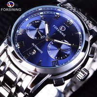 Forsining Waterproof Blue Ocean Design Stainless Steel Calendar Display Mens Automatic Watches Top Brand Luxury Mechanical