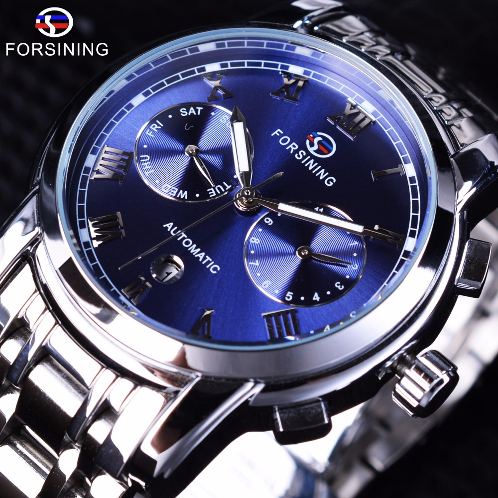 forsining waterproof blue ocean design stainless steel calendar display mens automatic watches. Black Bedroom Furniture Sets. Home Design Ideas