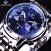 Forsining Waterproof Blue Ocean Design Stainless Steel Calendar Display Mens Automatic Watches Top Brand Luxury Mechanical