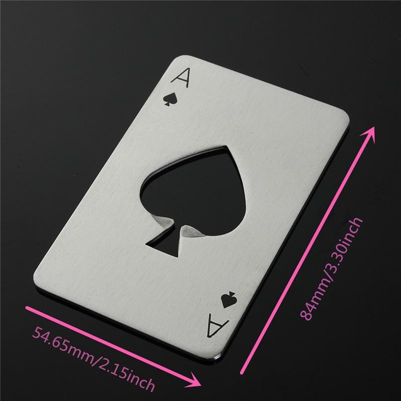 Apribottiglie a forma di Poker da 1 pz apribottiglie in acciaio inossidabile dimensioni carta di credito apribottiglie da casinò Abrelatas abrebotelle 2