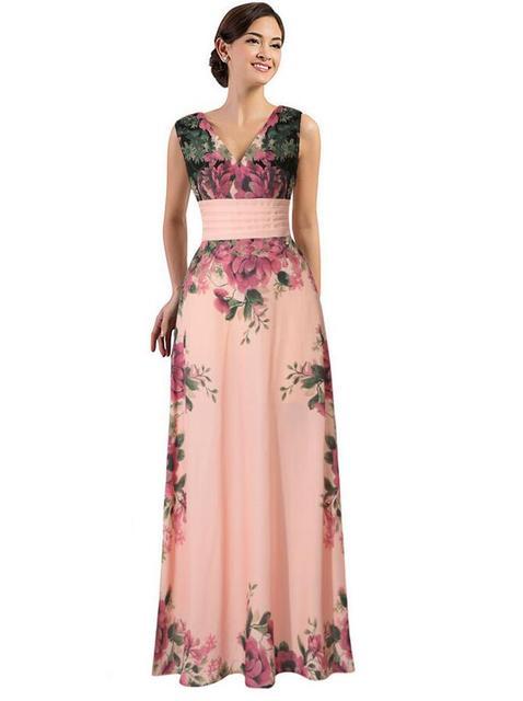 JIALIGUO Sexy print chiffon summer dress Strap deep v neck high waist beach dresses women 2017 new slit backless long dress