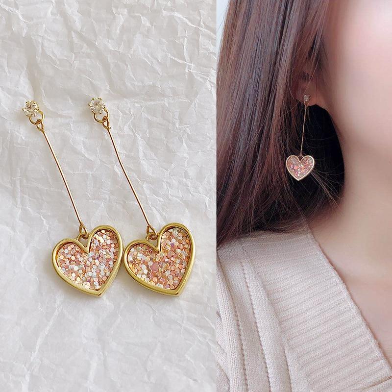 Pretty Metal Weave Disc Sweet Super Fairy Flower Petal With Long Stick Earring For Woman Jewelry Drop Earrings