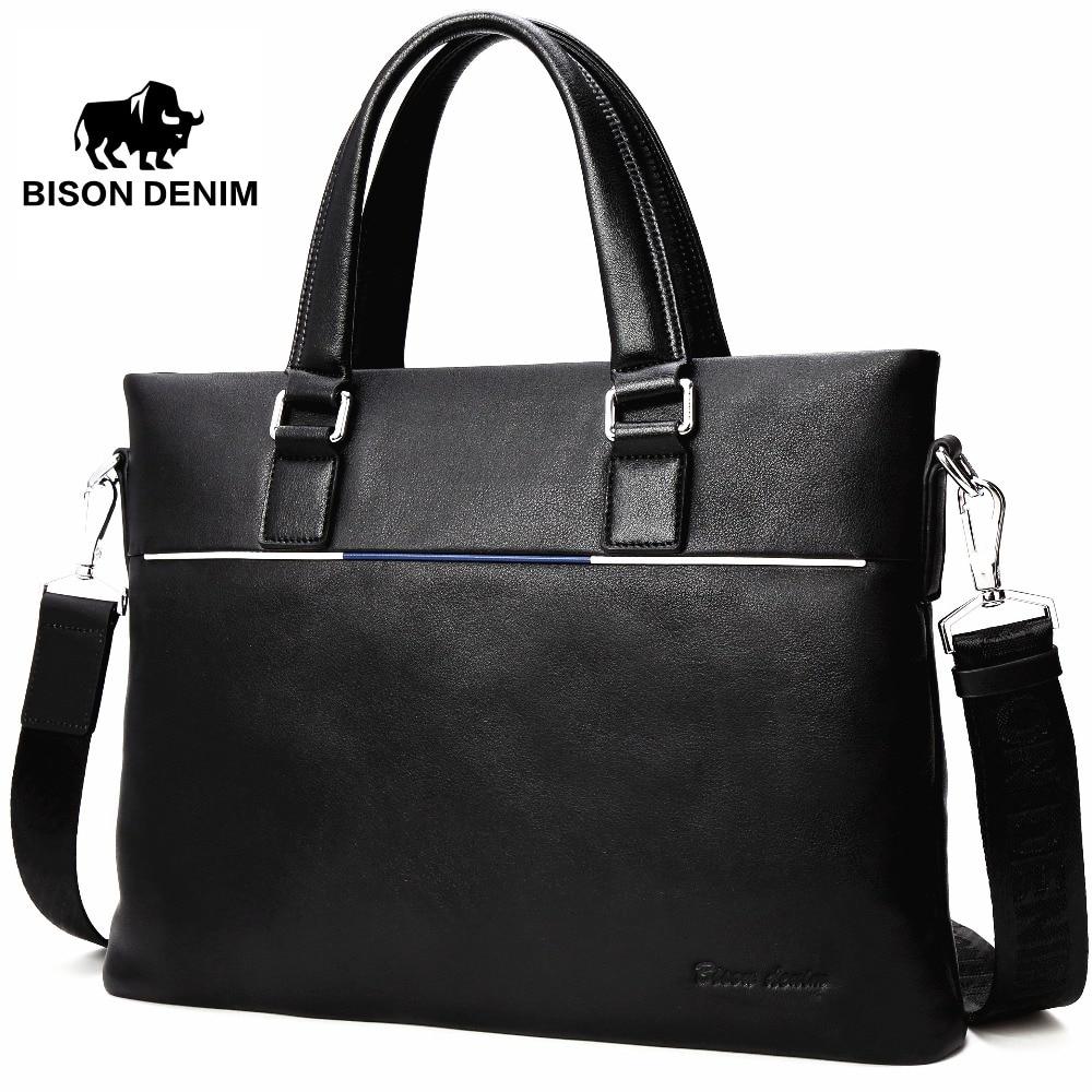 BISON DENIM valódi bőr táska férfi táska vékony 14