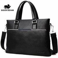 BISON DENIM Genuine Leather Bag Men Briefcase Slim 14 Laptop Bag Brand Mens Leather Messenger Bags