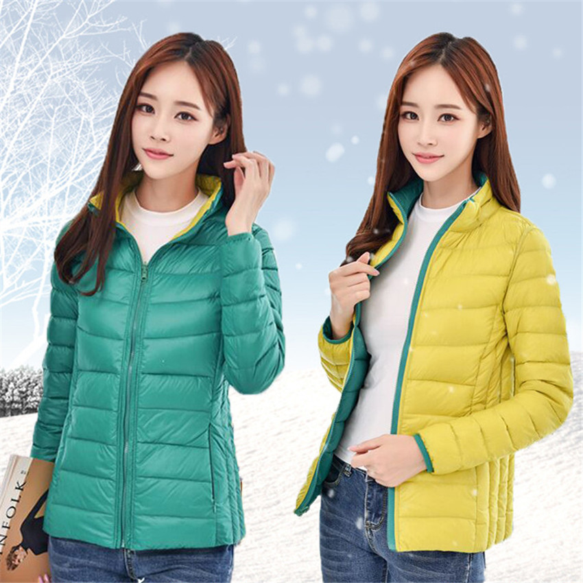 2018 New Winter Women Short   Down     Coat   On Both Side Big Size Lady Light Thin White Duck   Down   Jacket Autumn Stand Collar   Coat   W425
