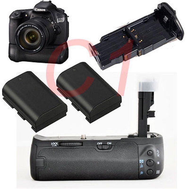 JINTU Batterie per Foto/Videocamera Grip Holder + 2pcs LP-E6 ricarica Della Batteria Per Canon EOS 60D 60Da 60D-a Sostituzione BG-E9
