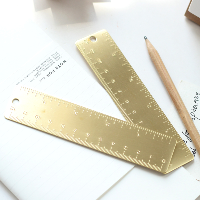 12cm 1pc Vintage Handmade Brass Rulers, Travel Notebook Planner Diary DIY Accessory Creative Portable Straight Ruler