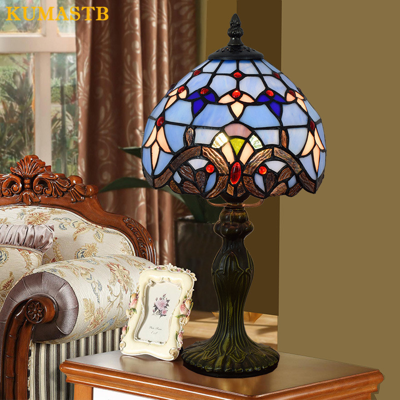 8 Inch Tiffany Table Lamp Stained Glass Restaurant Bedroom Bedside Light European Blue Baroque Desk Lamp for Living Room tiffany suspension lamp art stained glass rose lamp living room restaurant european style tiffany pendant lights