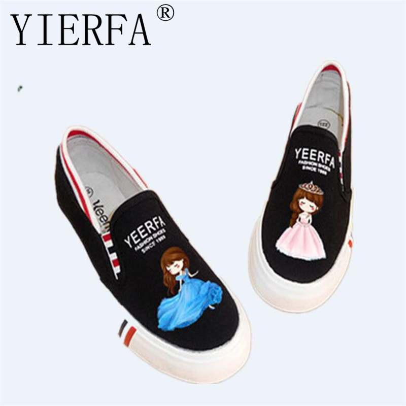 YIERFA fashion cartoon Canvas Shoes Women New Lazy Pedal Shoes Foot Wrapping Female Luminous hand-painted Casual Shoes 35-40 eur e toy word canvas shoes women han edition 2017 spring cowboy increased thick soles casual shoes female side zip jeans blue 35 40