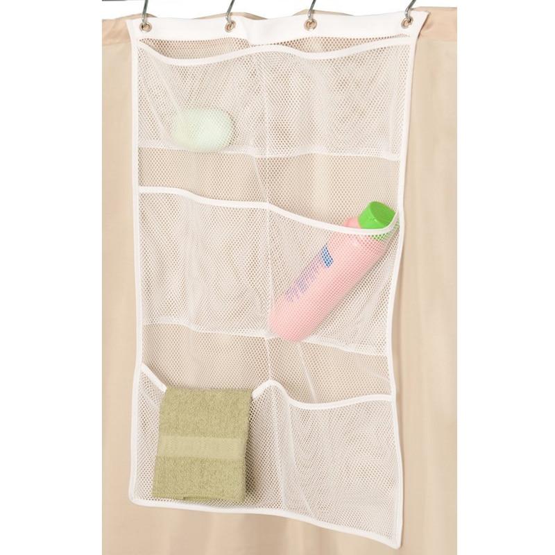 Hanging Bathroom Storage Bag Shower Curtain Caddy Soap Towel ...