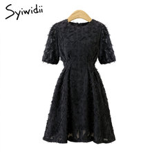 Lace Dress Summer 2019 Elegant Italy Fashion Mini Party Club Vintage Night Dress Women Short Sleeve O Neck Beige Black Dresses(China)