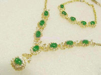 Valentine's Day Women Green Jades Necklace + Breacelet Sets Party Gown Jewelry