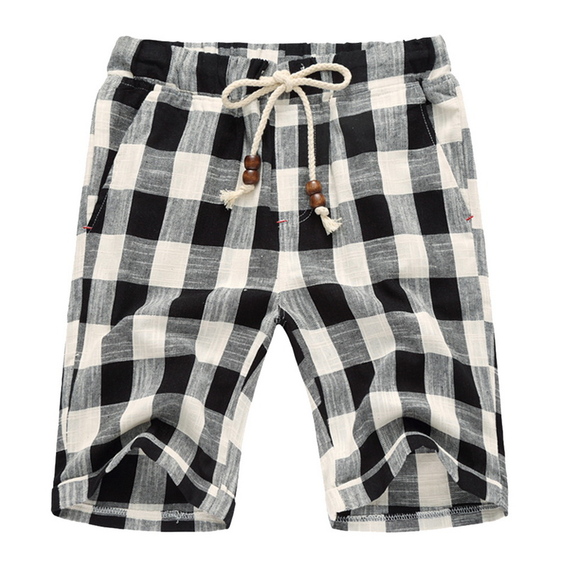 SHUJIN 2019 Summer Style Men's Linen Casual   Shorts   Mens Plaid Striped Linen Cotton   Shorts   Casual Beach   Shorts   Men Plus size 5XL