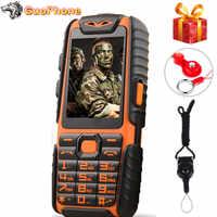 Impermeable A6 banco de energía teléfono a prueba de golpes altavoz fuerte linterna Dual SIM 2,4 pulgadas (puede agregar teclado Ruso)
