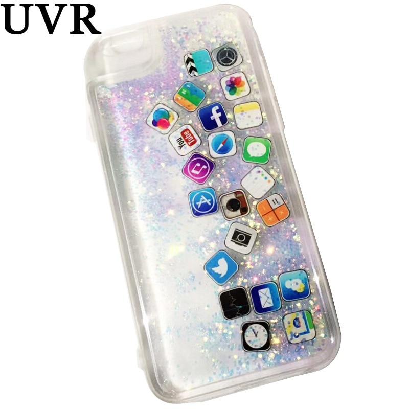 RAYONS UV 3D Mignon logiciel icône Glitter Liquide Dynamique Or Argent Quicksand cas Coque Cacasa Funda pour iPhone 6 s 7 Plus Doux couverture