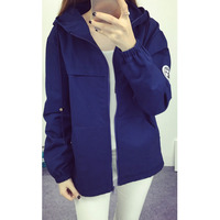 2019 autumn wild hooded tooling coat female of the casual cardigan baseball uniform short women's trench coat A390