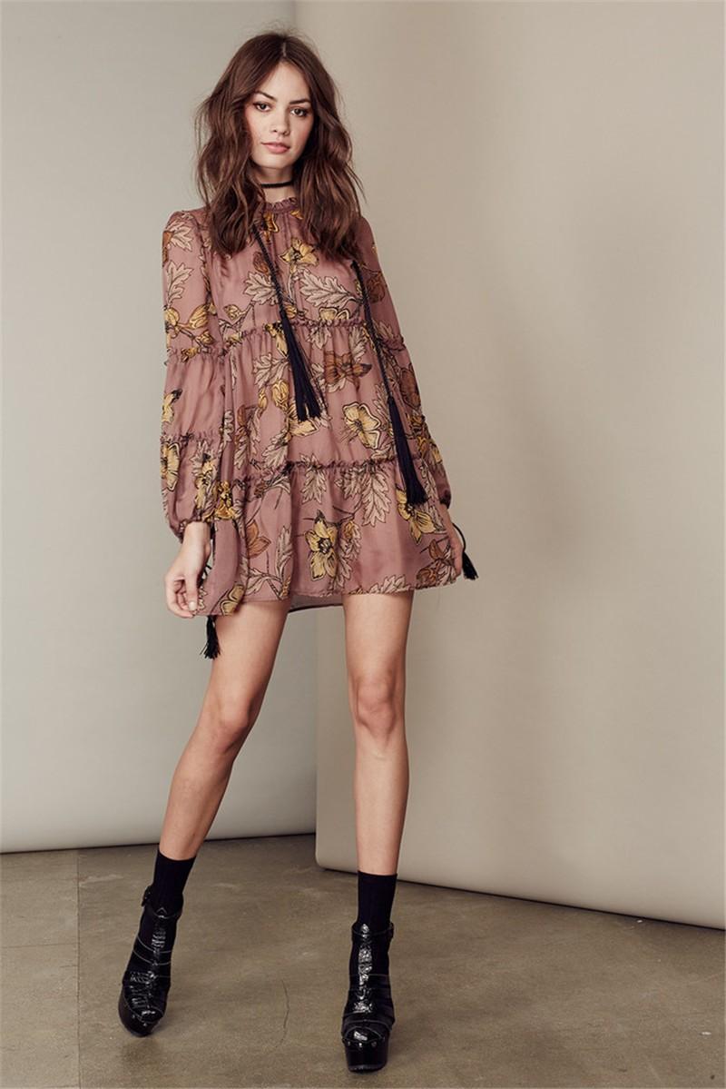 women dress Autumn winter long sleeve ruffle chiffon dress Vintage loose short dress Boho floral print tassel vestidos 9