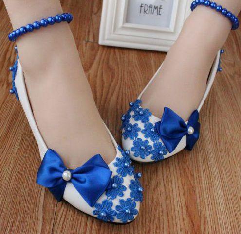 New Blauw bows lace parels enkelbandje bruiloft/party pumps schoenen @PT77