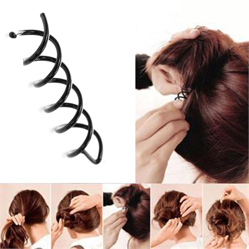 12Pcs Hair Styling Tools Girls   Headwear   Black Lady Elastic Spiral Spin Screw Hair Pin Braid Twist Hairpins Hairdressing Tools