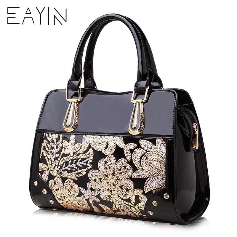 Luxury Designer Black Leather Tote Bag Handbags Sequin Flower Women Famous Brand Lady s Lacquered Handbag