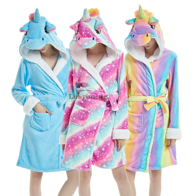 Winter Warm Flannel Bathrobes Women Cartoon Unicorn Stitch Panda Pajamas Adults Dressing Gown Hooded Animal Sleepwear Long Robe