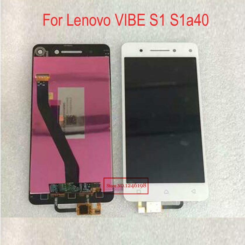 Pink black white LCD Display + Touch Screen Digitizer Assembly For Lenovo VIBE S1 S1a40 Phone Replacement Parts аксессуар чехол lenovo k10 vibe c2 k10a40 zibelino classico black zcl len k10a40 blk