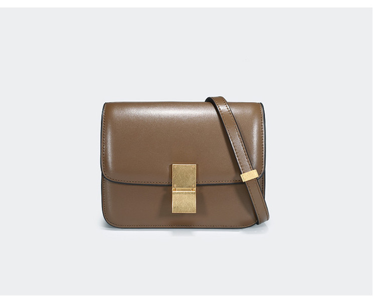 New Woman The single shoulder bag New pattern  Cowhide Diagonal span BOX  Lock the small square bag  Genuine leather Tofu Bag