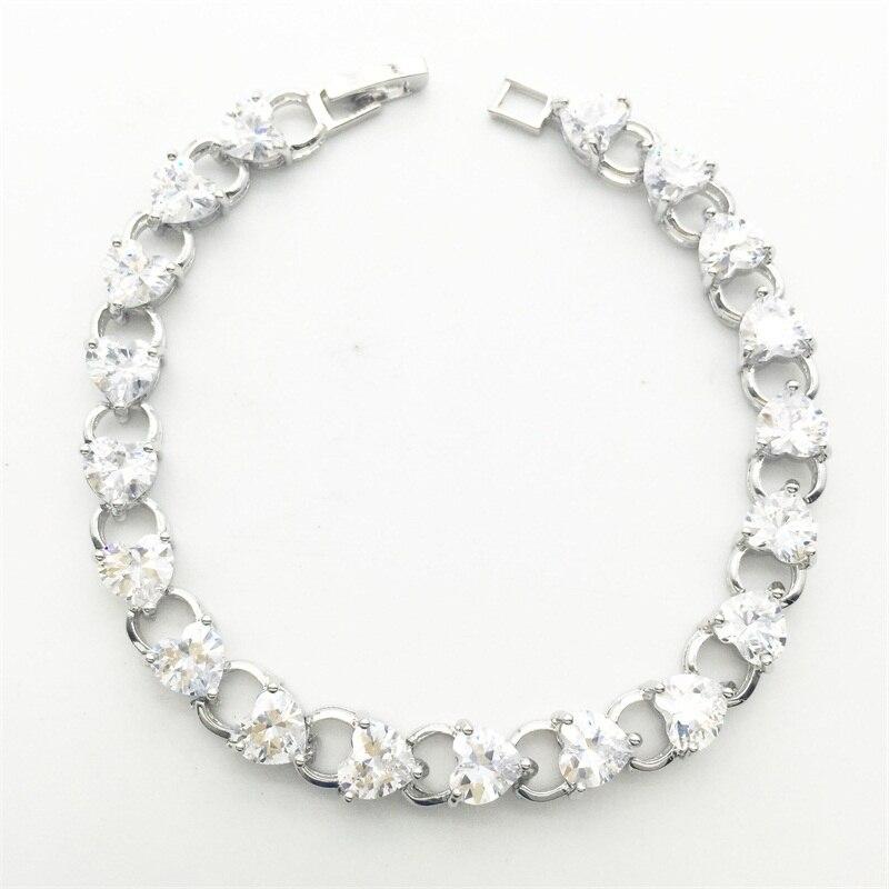 9e82eecc7702 2017 BLANCO CRISTAL pulsera del corazón de la manera pulsera de la marca  blanco plateado oro blanco joyas pulsera