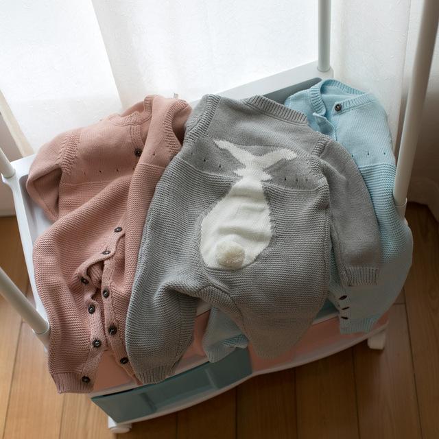2017 nuevos bebés niñas sólido rosa azul conejo de conejito de punto mameluco