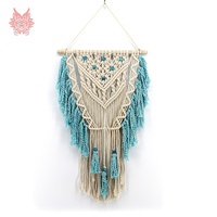 Home decor blue beige bohemian wall hanging tapestry cotton hand weaving hollow out tassel tapisserie murale tapiz pared SP5617