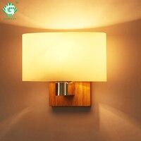Modern Nordic LED Sconces Light Wood Glass E27 Bulb Decorative Indoor Bedroom Bathroom Study Living Room Wall Lamp Vanity Bed