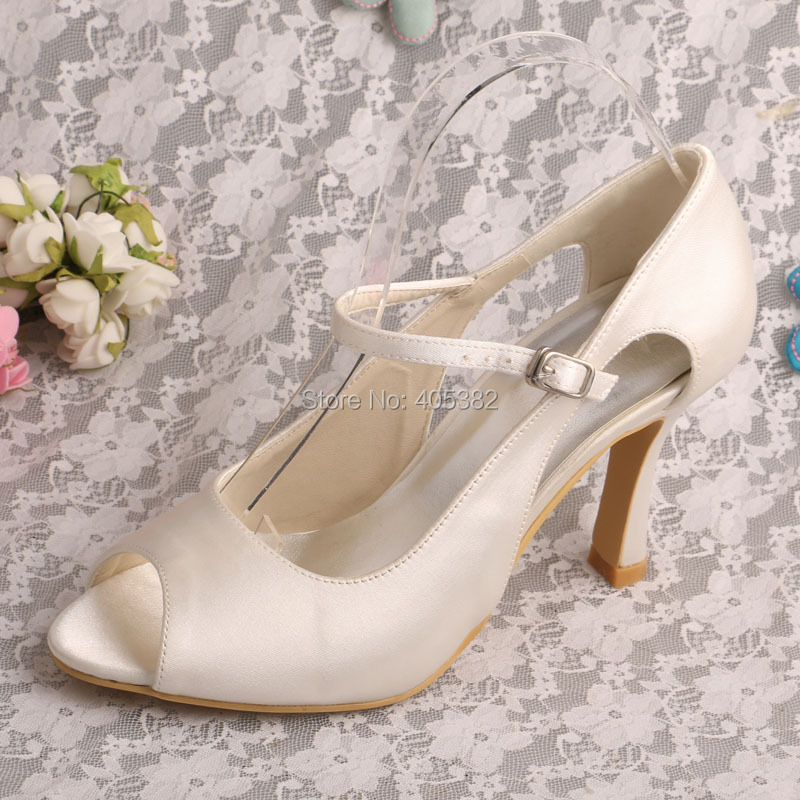 ФОТО (20 Colors)Dropshipping Mary Jane Wedding Shoes High Heel Party Pumps Off white Satin Peep Toe