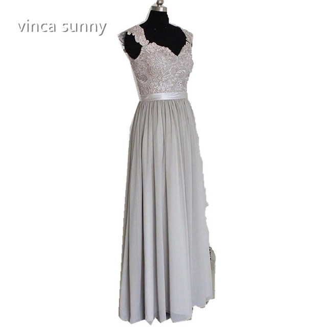 Vinca Sunny Sexy 2017 Gray Bridesmaid Dresses robe demoiselle d honneur  Scoop Lace Chiffon Long Maid of Honor Prom Dress Gowns af2a42b09ef4
