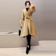 2018 New Winter Women Wool Blend Coat Fashion Elegant Womens Dress Irregular Fur Sleeve Coats And Jackets Outerwear 3XL 4XL