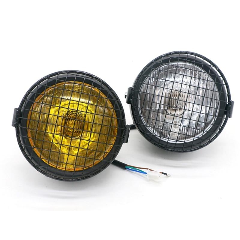 35W Retro Black Headlights for Motorcycle 12V Classic Grill Headlamp Motorbike Net Front Light Scooter Spotlight Motor Lamp Moto - title=