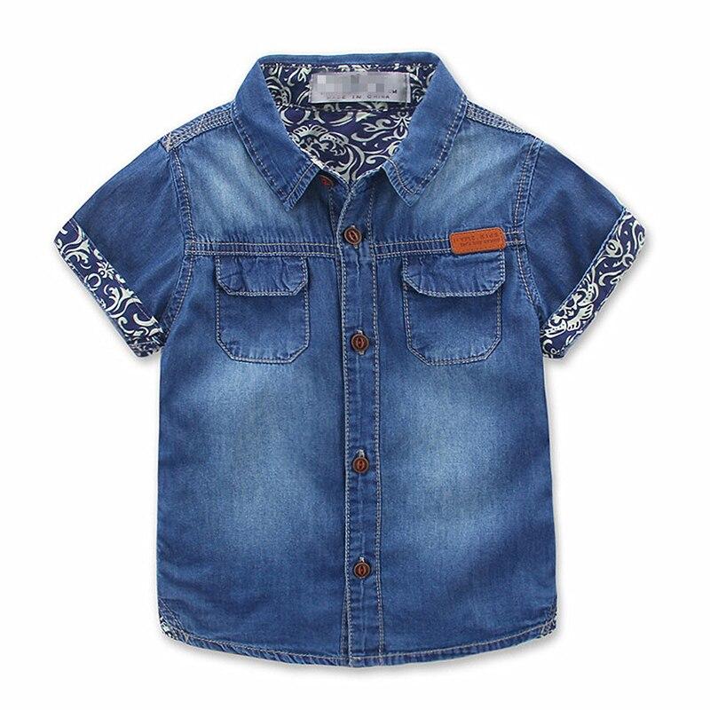 Рубашка для мальчиков, Повседневная рубашка с короткими рукавами и карманами, джинсовые рубашки для мальчиков, летние детские топы, рубашки...