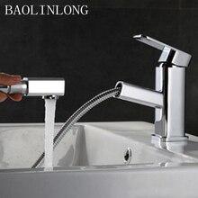 BAOLINLONG Brass Deck Mount Bathroom Basin Faucet Vanity Vessel Sinks Mixer Tap Pull Out Faucet bath tap