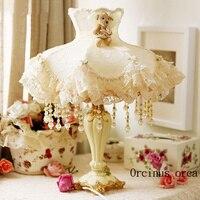 Европейский идиллической кружева настольная лампа принцессы комната спальня ночники корейский романтический Ткань Белый Настольная ламп