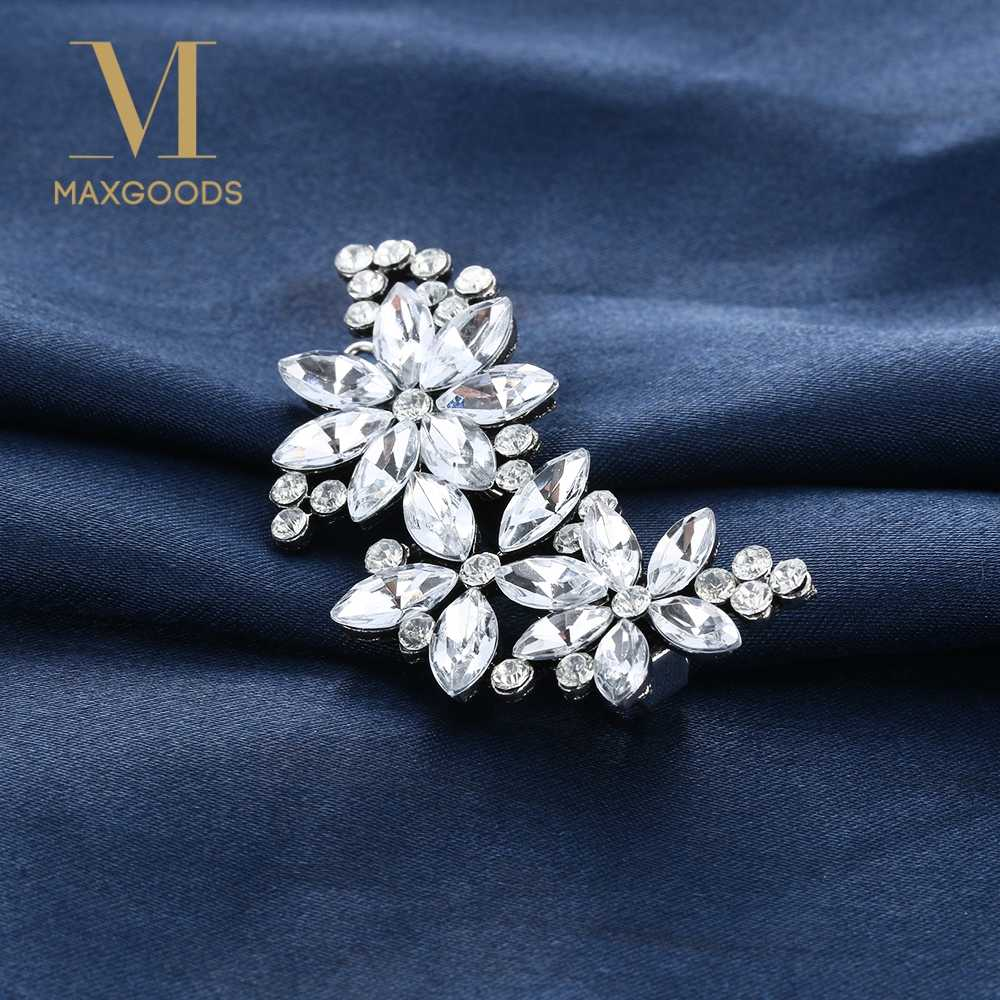 2Pcs Fashion Shiny Crystal Flower Petal Barrette Rhinestone Hair Clip HairPin for Wedding Bride Bridesmaid Hair Accessories