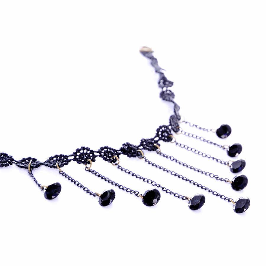 アーメドジュエリー 2017 ヨーロッパのシンプルなファッション黒ラウンド石ペンダントレースチョーカーネックレス女性のギフトのため