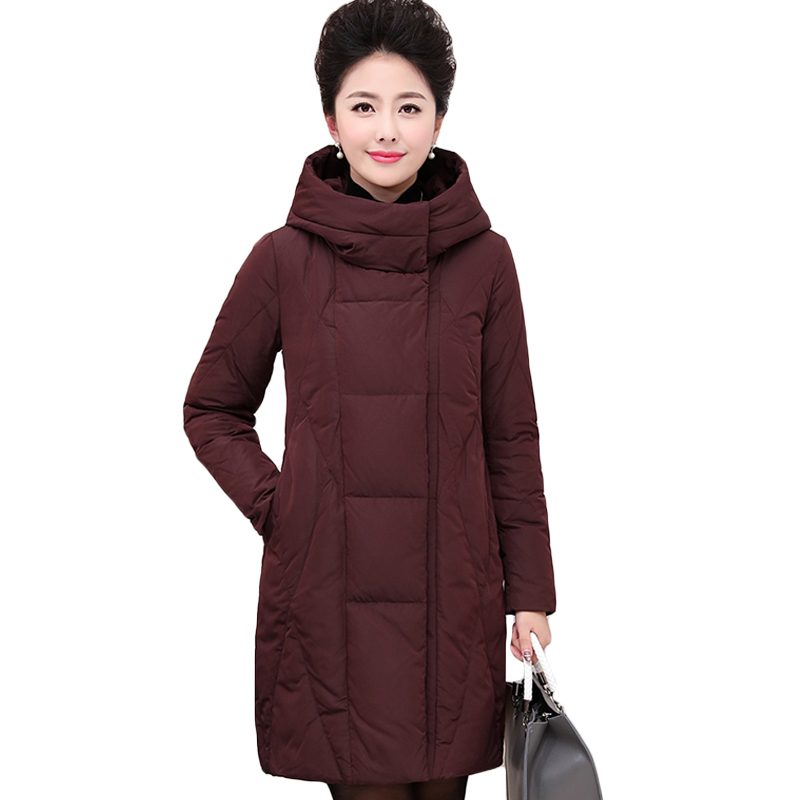 XL-6XL 2017 Winter Women's Basic Parka Jacket Coat for Mother Gift Casual Outwear New Plus Size Middle Aged Women Clothing XH714 xl 5xl winter coat women plus size middle aged mother cotton padded clothes casual hooded solid long sleeve parka thick a4263