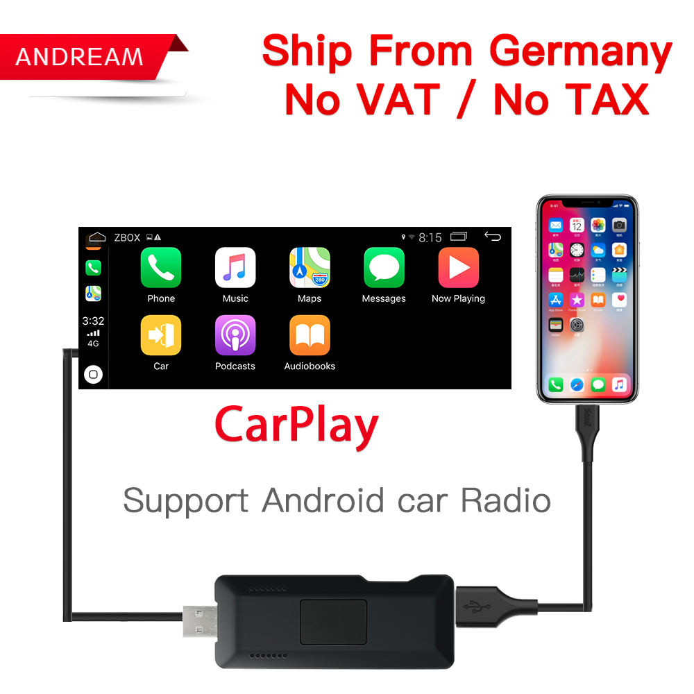 Carlinke USB Smart Link Apple Carplay Dongle box for Android Navigation DVD Radio Player Mini USB Carplay Stick for Apple IOS compact usb worldwide internet tv radio games mtv movie player dongle black
