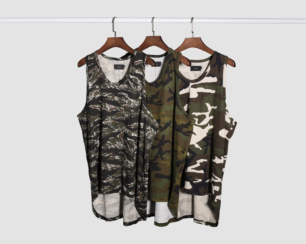 Military Camouflage Muscle Tee 2017 Summer Mens Elongated Silhouette Sleeveless Camo Tank Tops