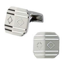 A pair of high quality brass material white square enamel silver stripes cufflinks fashionable men's shirts cufflinks