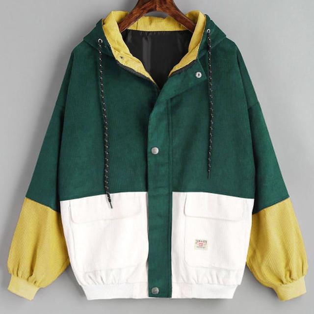 Long Sleeve Corduroy Patchwork Oversize Zipper Jacket Windbreaker coats and jackets women 2
