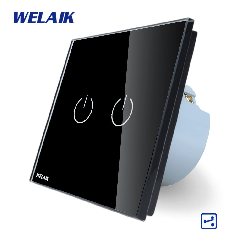 WELAIK Crystal Glass Panel Switch black Wall Switch EU Touch Switch Screen Wall Light Switch 2gang2way AC110~250V A1922B welaik crystal glass panel switch white wall switch eu remote control touch switch light switch 1gang2way ac110 250v a1914w b